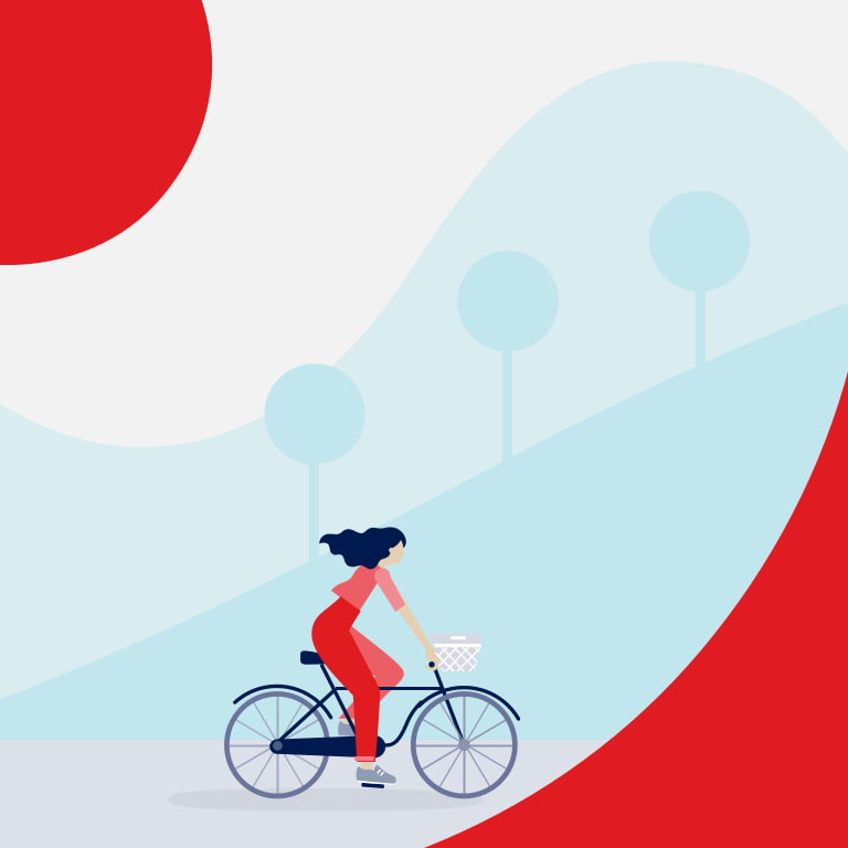 Illustration of woman in red riding a bicycle.