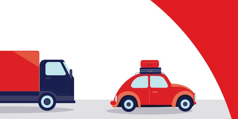 illustration of red car with luggage on roof being followed by a blue moving truck.