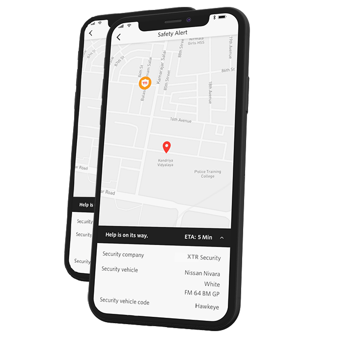 Cell phone showing a map with pinned location where panic button was activated with a Safety Alert icon moving on the map to let the person know help is coming.