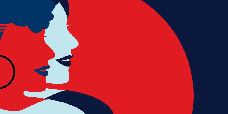 Illustration of a side view of two women looking to the right against a blue and red background.